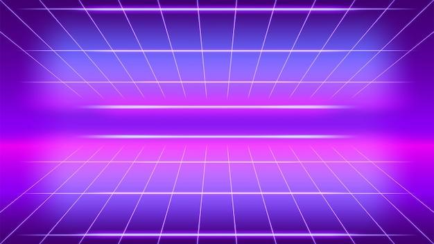 Luz de néon retrô brilhando em grade roxa com perspectiva de fundo