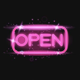 Luz de néon rosa brilhante sinal aberto