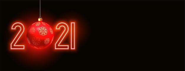 Luz de néon vermelha feliz ano novo 2021