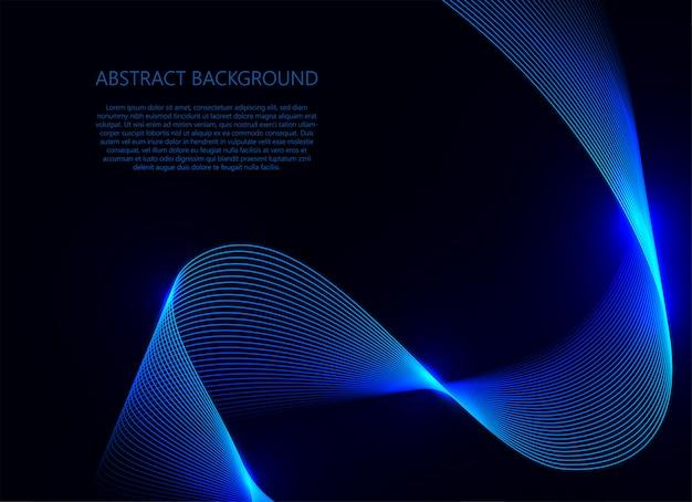 Luz de onda azul sobre fundo azul escuro