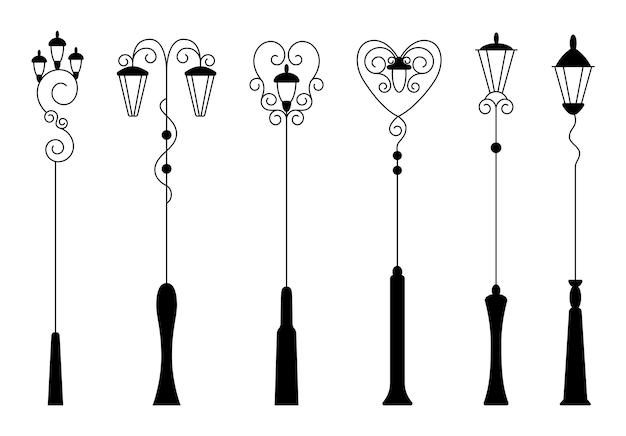 Luz de rua, coleção de silhuetas negras