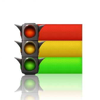 Luz de tráfego com três linhas de cores