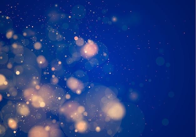 Luz desfocada bokeh em fundo azul escuro. brilho abstrato desfocado estrelas piscando e faíscas.