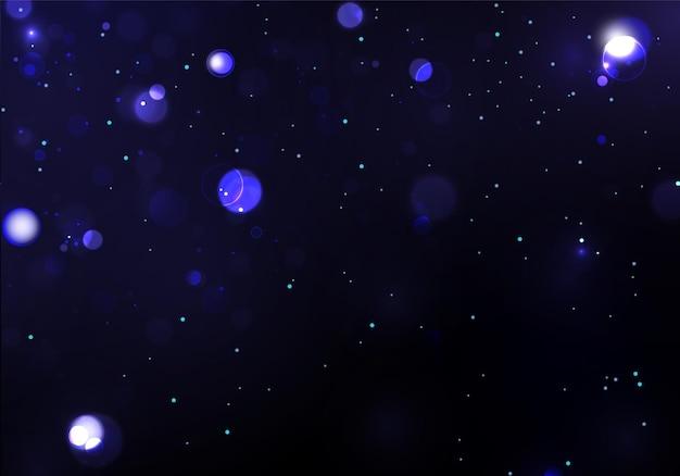 Luz desfocada bokeh em fundo escuro. brilho abstrato desfocado estrelas piscando e faíscas.
