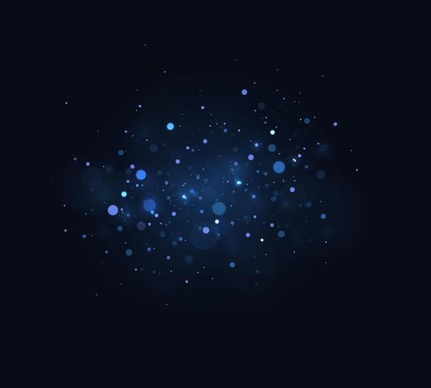 Luz desfocada do bokeh em fundo escuro brilho abstrato desfocado, estrelas e faíscas piscando