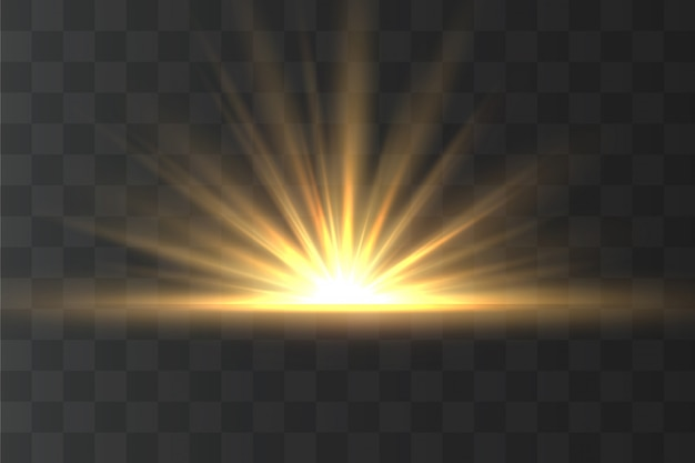 Luz destaque efeito especial amarelo com raios de luz e brilhos mágicos. raio de sol .