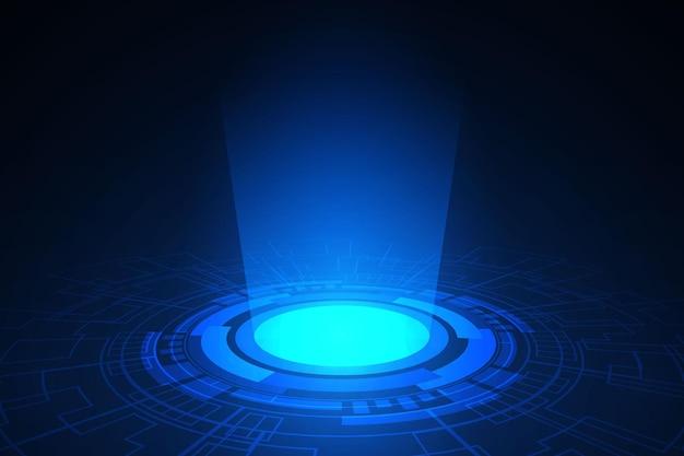 Luz digital de círculo de tecnologia abstrata e placa de circuito