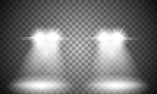 Luz do farol do carro em fundo transparente.