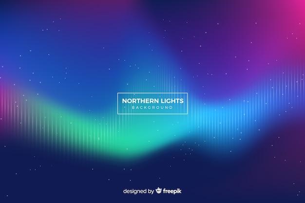 Luz do norte com linhas desvanecidas e céu estrelado