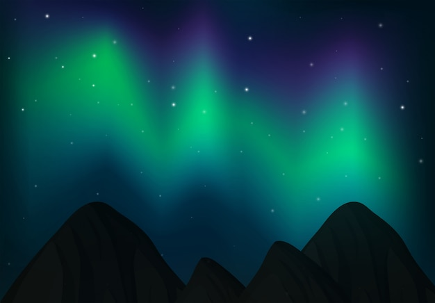 Luz do norte sobre o céu