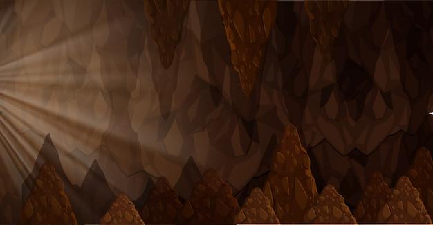 Luz do sol dentro da paisagem da caverna