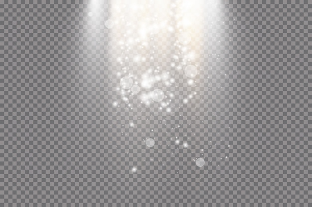Luz do sol transparente. cena iluminada por holofotes. efeito de luz em fundo transparente.