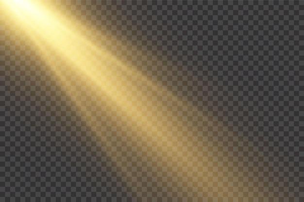 Luz do sol transparente flash efeito de luz. raios estelares horizontais e holofote.