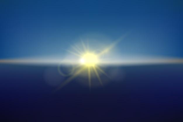 Luz do sol turva no céu, ilustração realista