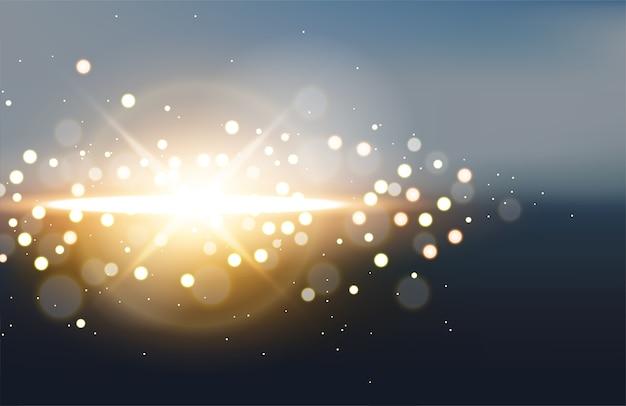 Luz dourada com flare no fundo da paisagem turva