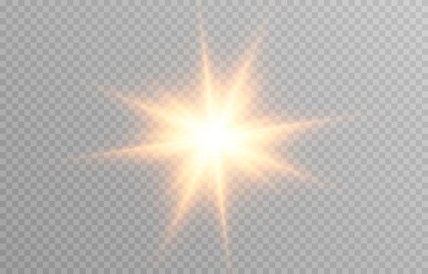 Luz dourada em fundo transparente