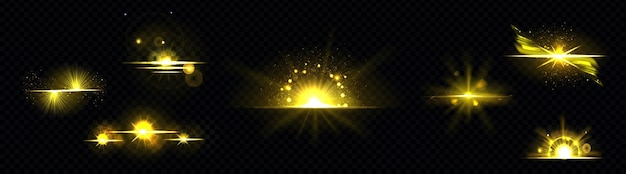 Luz dourada, radiante do sol, linha dourada, raio solar isolado no preto
