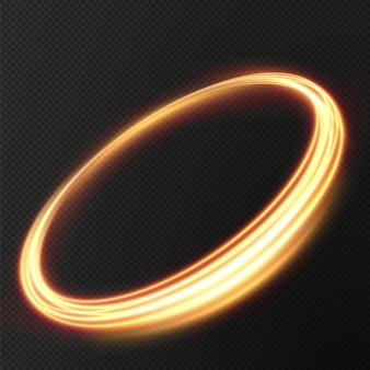 Luz dourada twirl curve efeito de luz de linha dourada círculo dourado luminoso vector png
