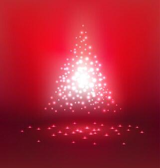 Luz mágica abstrata em fundo vermelho para o dia de natal