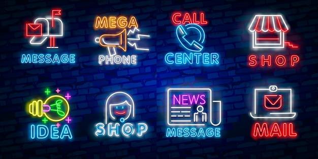 Luz neon. ícone de entrega de correio. símbolo de envelope. sinal de mensagem.