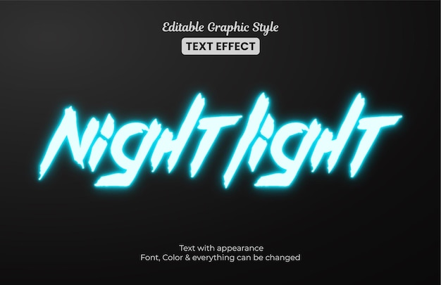 Luz noturna azul brilhante, efeito de texto em estilo gráfico editável