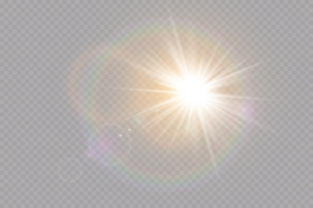 Luz solar, efeito de luz de brilho. brilho do sol . lantejoulas com estrelas brilhando.
