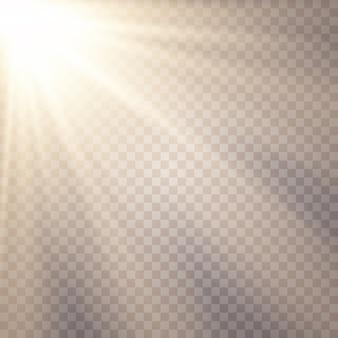 Luz solar em um fundo transparente. efeitos de luz brilhantes.