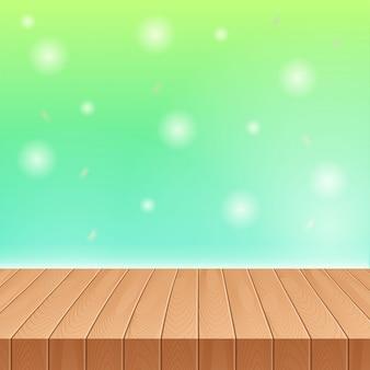 Luz solar no céu de verão com mesa de piquenique de madeira