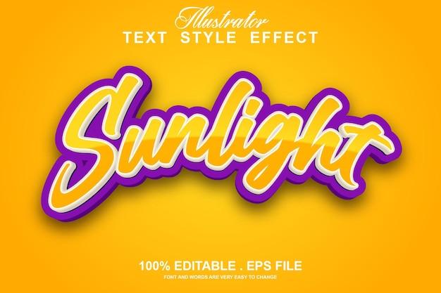 Luz solar para cima efeito de texto editável