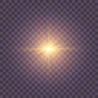 Luz solar transparente com efeito de luz de flash de lente especial, flash de lente solar frontal.