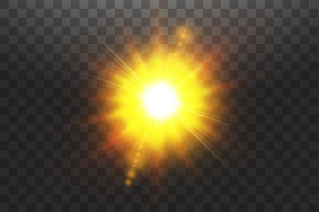 Luz solar transparente efeito de luz de reflexo de lente especial. sol em fundo transparente. efeito de luz de brilho.