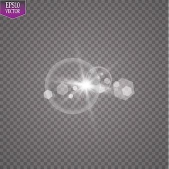 Luz solar transparente efeito de luz de reflexo de lente especial. sol flash com raios e holofotes.