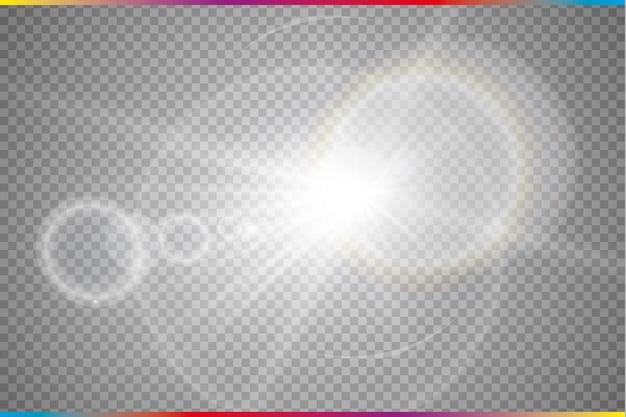 Luz solar transparente efeito de luz de reflexo de lente especial. vetor