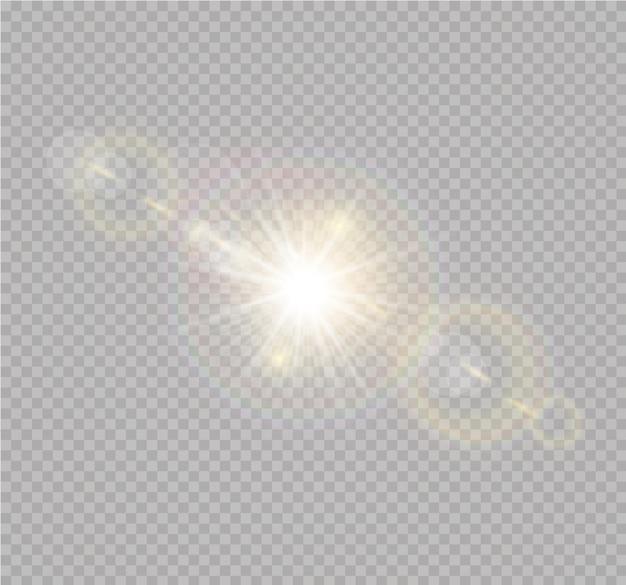 Luz solar transparente efeito de luz de reflexo de lente especial.