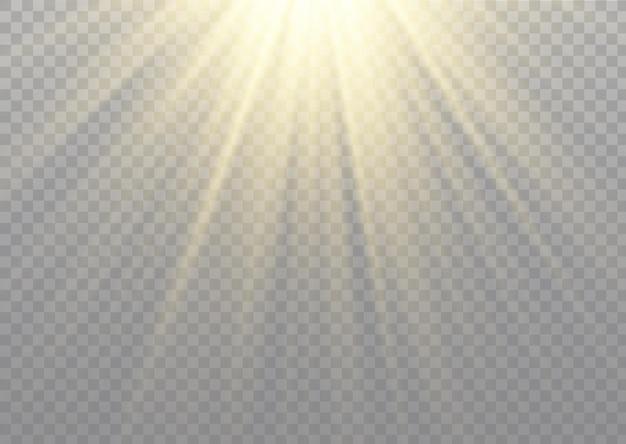 Luz solar transparente, efeito de luz. desfoque à luz do brilho. raios estelares.