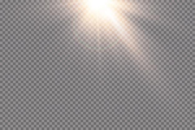 Luz solar transparente efeito de luz especial de reflexo flash solar com raios e holofotes