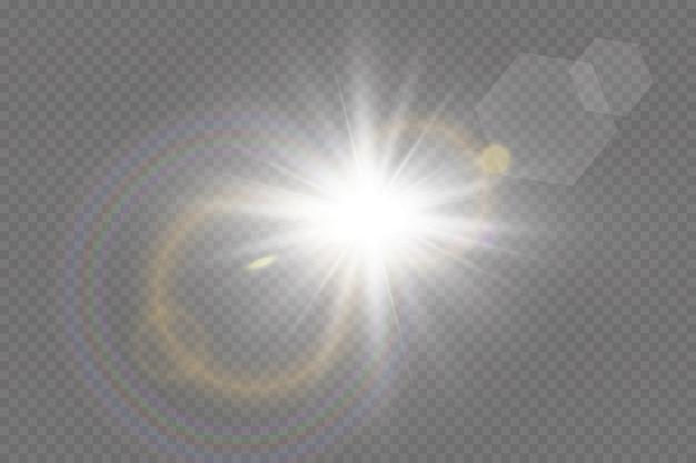 Luz solar transparente efeito de luz especial de reflexo sol flash com raios e holofotes.