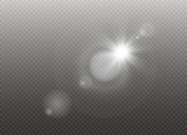 Luz solar transparente lente especial flare efeito de luz. flash do sol.