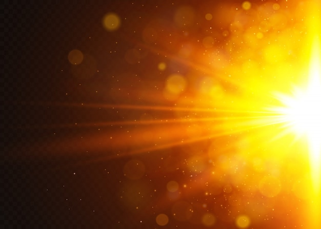 Luz solar transparente lente especial flare efeito de luz. sol flash com raios e holofotes