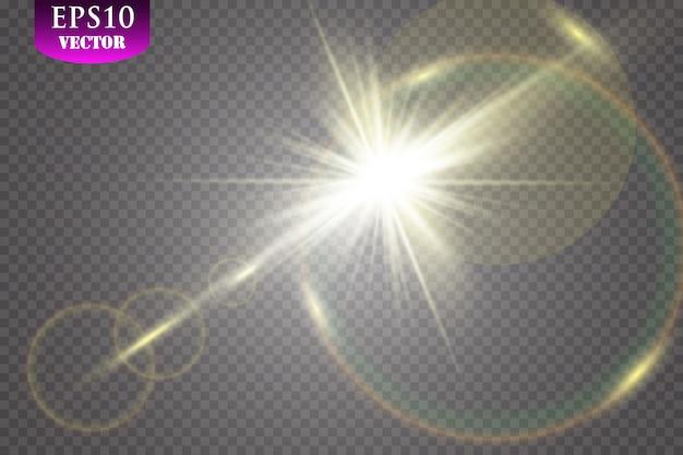 Luz solar transparente lente especial flare efeito de luz.
