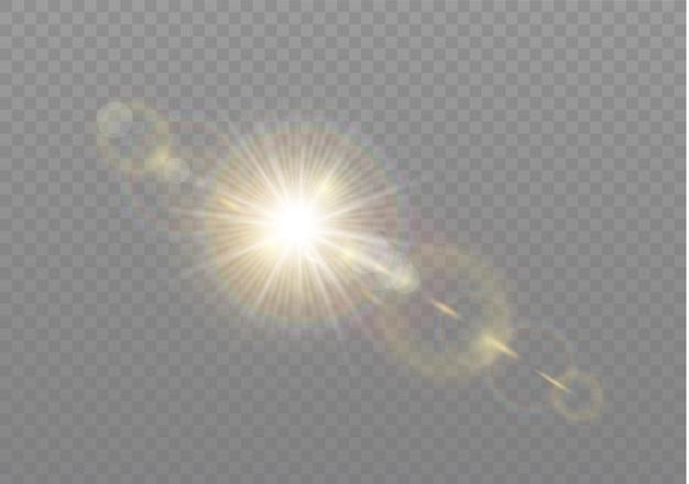 Luz solar transparente lente especial flash efeito de luz. flash de lente solar frontal. borrar à luz do esplendor. elemento de decoração. raios estelares horizontais e holofote.