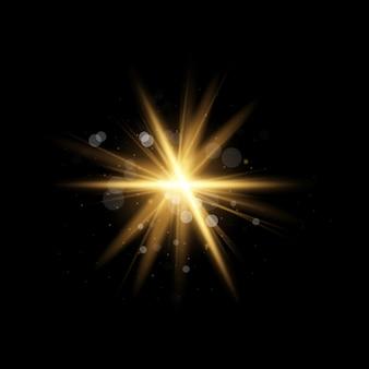 Luz solar transparente lente especial flash light effect.front sol lens flash. borrão à luz do brilho. luz destaque efeito especial amarelo com raios de luz e brilhos mágicos.