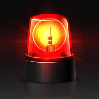 Luz superior do carro da polícia vermelha de vetor brilhando no escuro no preto
