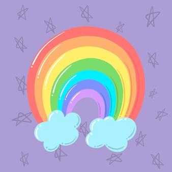 Luz tudo está ok design plano arco-íris