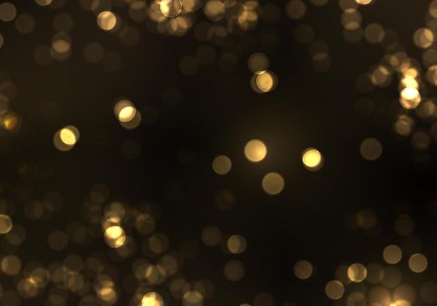Luz turva do bokeh do ouro. brilho abstrato desfocado estrelas piscando e faíscas.