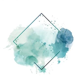 Luz verde abstrato aquarela com moldura poligonal