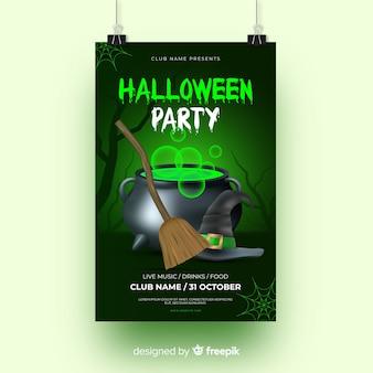 Luz verde com panfleto de festa de halloween de bruxaria