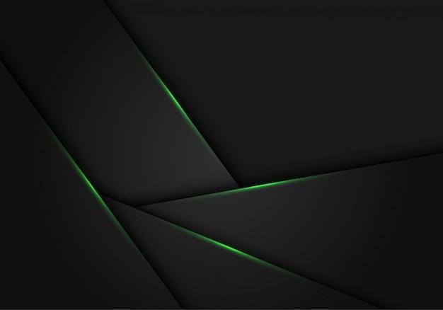 Luz verde no fundo futurista do polígono metálico cinzento escuro.