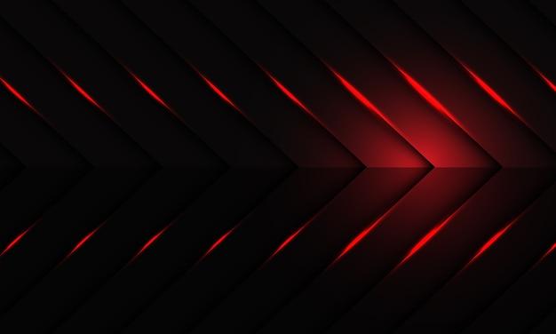 Luz vermelha abstrata no padrão de seta metálica escura com fundo futurista moderno