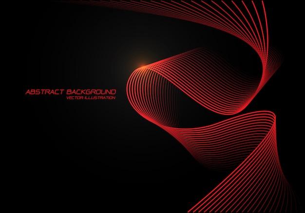 Luz vermelha da curva 3d da onda no fundo preto.